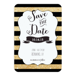 Black and Gold Stripes Save the Date Card