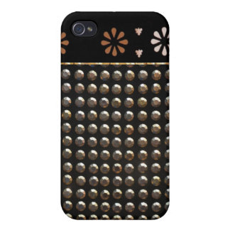 Black And Gold Studs Pattern Case For iPhone 4