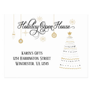Black and Gold Stylized Holiday Open House | Postcard
