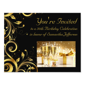 "Black and Gold Swirl, Custom 50th Birthday Party 4.25"" X 5.5"" Invitation Card"