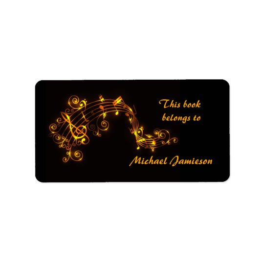 Black and Gold Swirling Musical Notes Bookplates