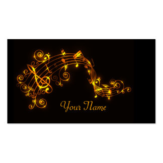 Black and Gold Swirling Musical Notes Business Car Business Card Template