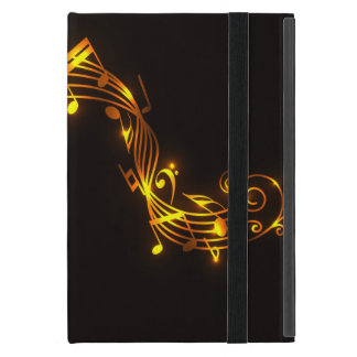 Black and Gold Swirling Musical Notes iPad Mini Case