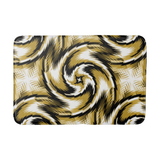 Black and Gold Swirls Bathroom Mat
