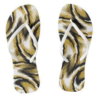Black and Gold Swirls Flip Flops