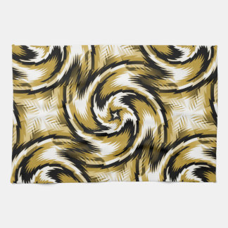 Black and Gold Swirls Kitchen Towel