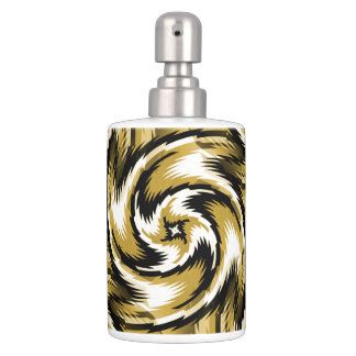 Black and Gold Swirls Soap Dispenser And Toothbrush Holder