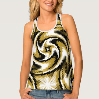 Black and Gold Swirls Tank Top