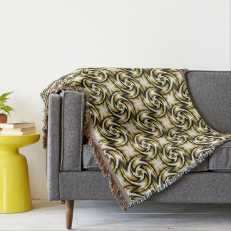Black and Gold Swirls Throw Blanket