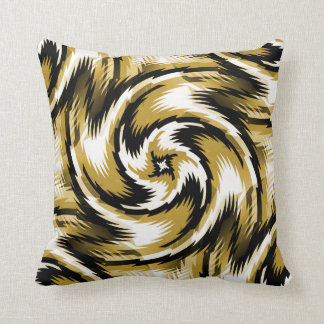 Black and Gold Swirls Throw Pillow