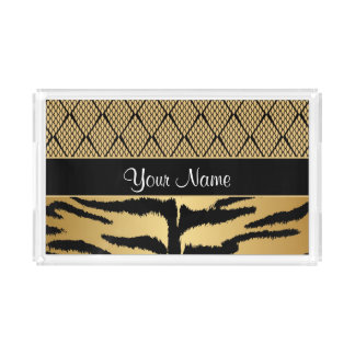 Black and Gold Tiger Animal Pattern Acrylic Tray