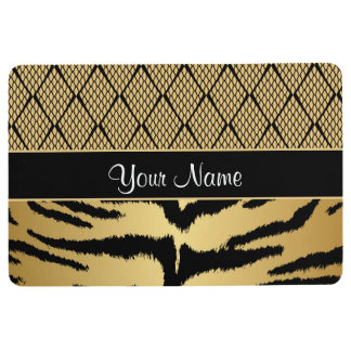 Black and Gold Tiger Animal Pattern Floor Mat
