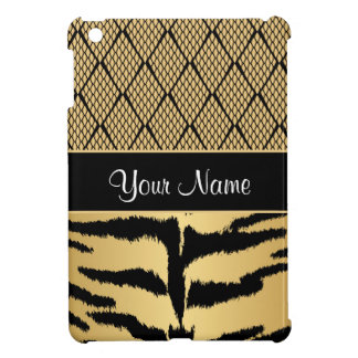 Black and Gold Tiger Animal Pattern iPad Mini Case