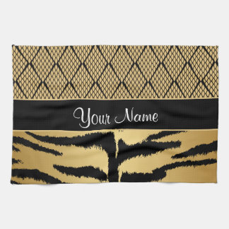 Black and Gold Tiger Animal Pattern Kitchen Towel
