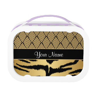 Black and Gold Tiger Animal Pattern Lunch Box