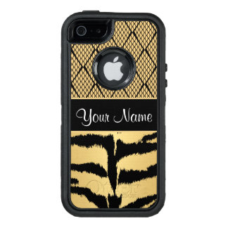 Black and Gold Tiger Animal Pattern OtterBox Defender iPhone Case