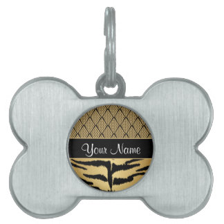 Black and Gold Tiger Animal Pattern Pet Name Tag