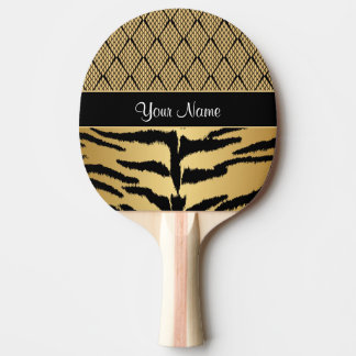 Black and Gold Tiger Animal Pattern Ping Pong Paddle