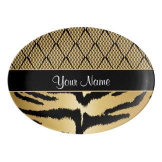Black and Gold Tiger Animal Pattern Porcelain Serving Platter