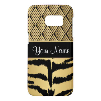 Black and Gold Tiger Animal Pattern Samsung Galaxy S7 Case