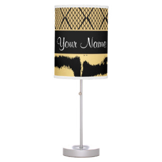 Black and Gold Tiger Animal Pattern Table Lamp