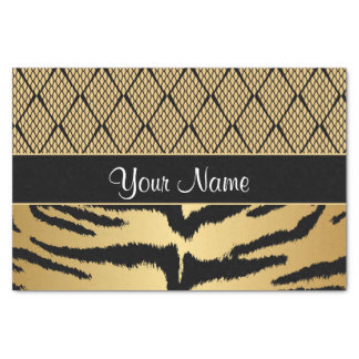 Black and Gold Tiger Animal Pattern Tissue Paper
