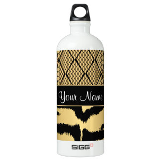 Black and Gold Tiger Animal Pattern Water Bottle