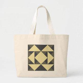 Black and gold triangles large tote bag