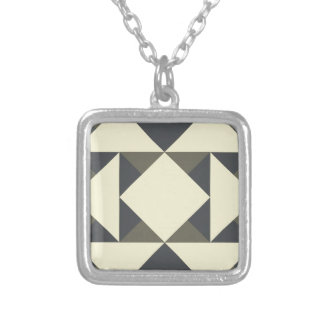 Black and gold triangles silver plated necklace