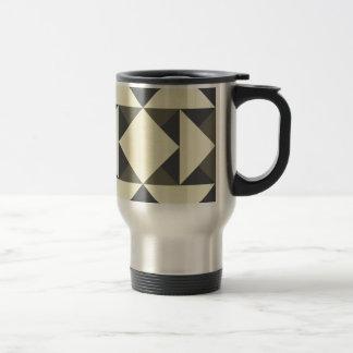 Black and gold triangles travel mug