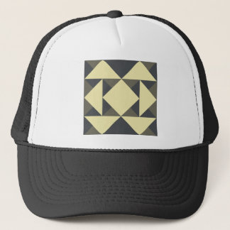 Black and gold triangles trucker hat
