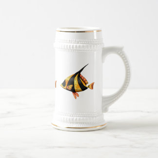 Black and gold tropical angle fish beer stein