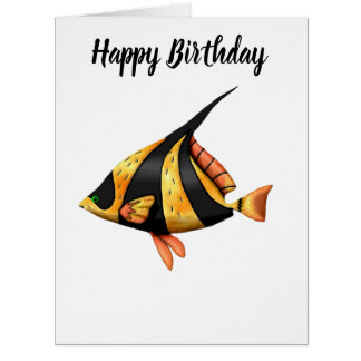 Black and gold tropical angle fish card
