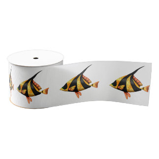 Black and gold tropical angle fish grosgrain ribbon