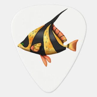 Black and gold tropical angle fish guitar pick