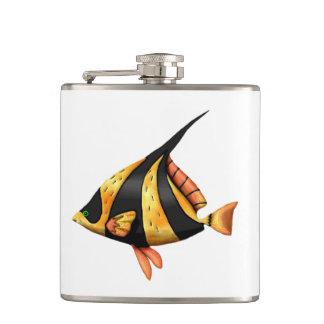 Black and gold tropical angle fish hip flask