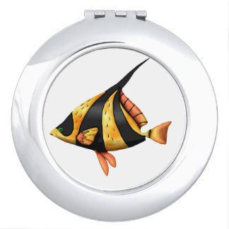 Black and gold tropical angle fish mirror for makeup