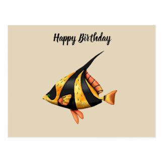 Black and gold tropical angle fish postcard