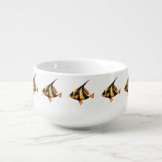 Black and gold tropical angle fish soup mug