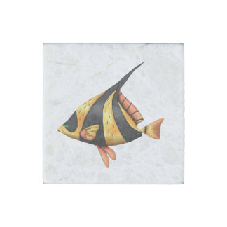 Black and gold tropical angle fish stone magnets