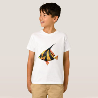 Black and gold tropical angle fish T-Shirt