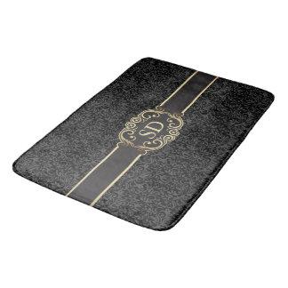 Black and gold vintage damask monogram template… bathroom mat