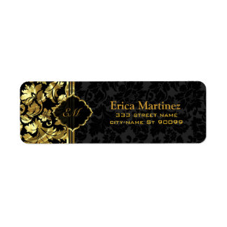 Black And Gold Vintage Floral Damasks Return Address Label
