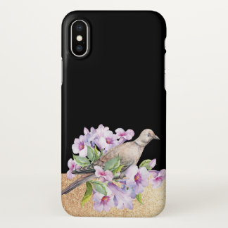 Black and Gold Watercolor Flower Bird iPhone Case