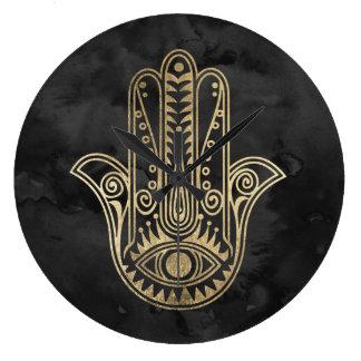 Black and gold watercolor hamsa hand of Fatima Wallclocks
