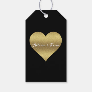 Black And Gold Wedding Party Heart Gift Tags