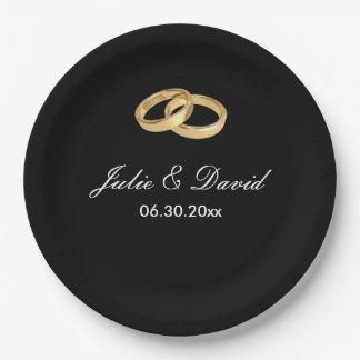 Black and Gold Wedding Rings Paper Plates