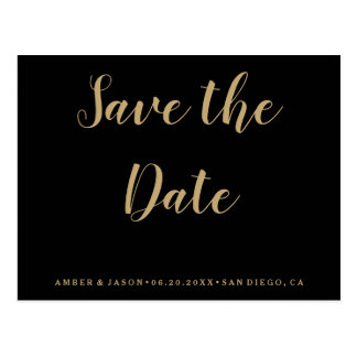 Black and Gold Wedding Save the Date Postcard
