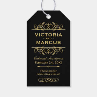 Black and Gold Wedding Wine Bottle Monogram Favour Pack Of Gift Tags