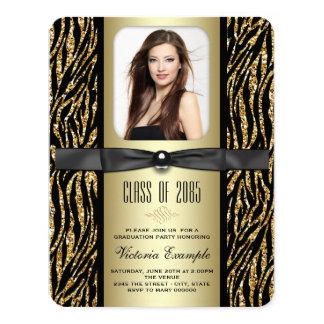 """Black and Gold Zebra Graduation Announcement 4.25"""" X 5.5"""" Invitation Card"""